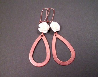 Long Dangle Earrings, Flower Earrings, White Blossoms and Rose Gold Tone, Copper Loop Earrings, FREE Shipping U.S.