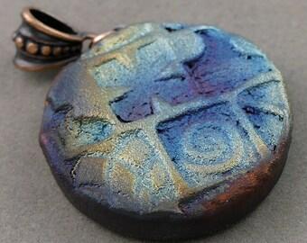 Reserved For Pamela***Stamped Texture Matte Round Raku Pendant***Reserved For Pamela