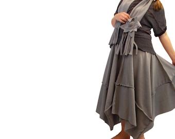 Long Asymmetric Fleece Skirt and Matching Fringe Scarf Flower Pin M L XL Medium Large