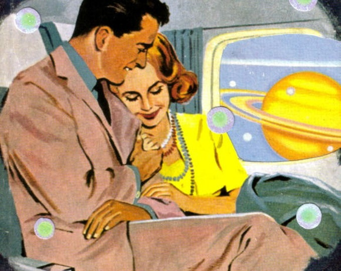Retro Space Age Romance Art Collage, Outer Space Traveler
