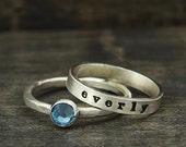 name and birthstone stacking ring set