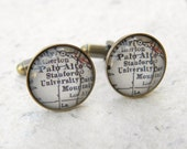 Stanford University Map Cufflinks - Featuring Palo Alto Cufflink Set - Graduation gift for Graduate or Alumni Cuff Link Set