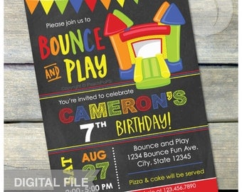 "Bounce and Play Bounce House Birthday Chalkboard Invitation Bouncy House  Inflatable Jump Party  - DIGITAL Printable Invite - 5"" x 7"""