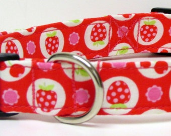 Strawberries, Cherries & Flowers on Pink Handmade Dog Collar