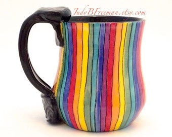 Handmade Ceramic Rainbow Striped Mug Roy G Biv Made to Order MG0041