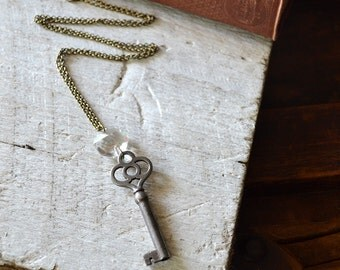 The Princess Key Necklace - Antique Skeleton Key Necklace - Vintage Chandelier Crystal Necklace - Vintage Key Necklace