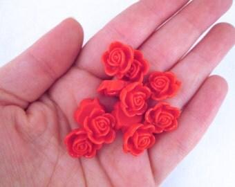 10 15mm Orange Red Rose Cabochons