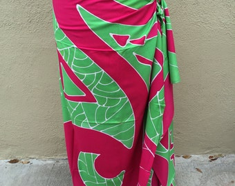 Maori, New Zealand, dance fabric, pareo, costume, pink and green print, rayon, fringeless