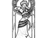 Downloadable coloring page Nouveau Belly Dancer fantasy art