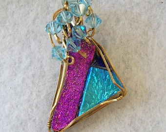 Dichroic Glass Wirewrapped Pendant with Swarovski Crystals