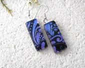 Purple Earrings, Dangle Drop Earring, Dichroic Earrings, Fused Glass Jewelry, Earrings, Dichroic Jewelry, Sterling Silver, 082316e103