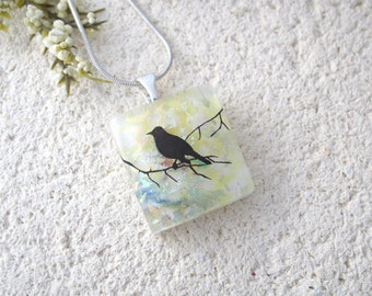 Petite Bird Necklace, Dichroic Glass Jewelry, Branch, Dichroic Necklace, Dichroic Jewelry, Fused Glass Jewelry Necklace Included, 082316p100