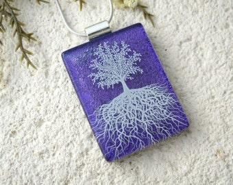 Tree of Life, Fused Glass Jewelry, Dichroic Pendant, Dichroic Jewelry, Rooted Tree, Purple White, Nature Jewelry, Silver Chain, 061216p106