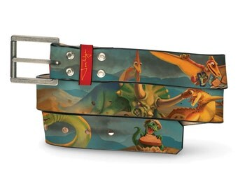 Dinosaurs Making Toast Leather Belt, Kids Belt, Kids Leather Belt, Handmade Leather, Dinosaurs Belt