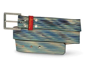 Blue Apocalypse Leather Belt, Apocalypse Leather Belt, Blue Belt