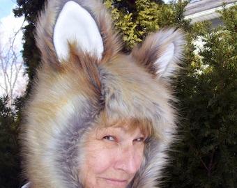 Red Fox Fur Hat w Ears Furry Geek Costume Adult Hat Fox Hood Birthday Hat Gift Halloween Ears Fur Hood Foxy OOAK Hat Life Like Faux Fox Fur