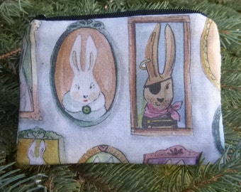 Rabbit coin purse, credit card pouch, stitch marker pouch, Bunny Portraits, The Raven