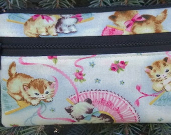 Cat mini wallet, purse organizer, wristlet, Smitten Kitten, Sweet Pea