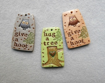 Nature Theme Word Charms/Tree Charm/Owl Charms - Set of 3 - Give a Hoot, Hug a Tree