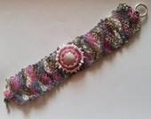 Multicolored Freeform . Beadwoven Bracelet . Pink, Gray, White . Inspirational bracelet . German Glass  - OOAK Cuff by enchantedbeas on Etsy