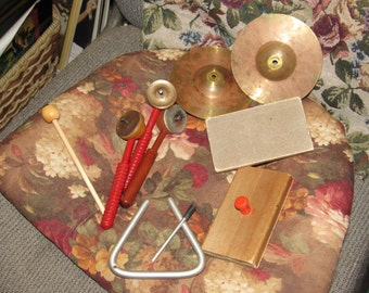 Vintage Childrens Musical Instruments Cymbals Triangle Shakers Etc.