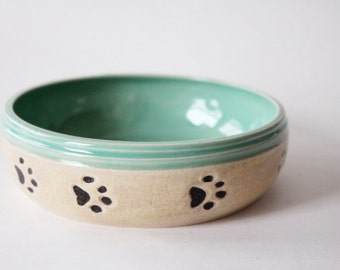 Cat Food Bowl -  Ready to Ship - wheel thrown and hand made - green and oatmeal colors