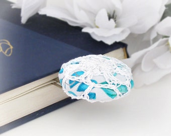 Crochet Button Paperclip Bookmark, Jumbo Paperclip Bookmark, Bible, Recipe Book Bookmark, Fabric Crochet Button Paperclip Bookmarker