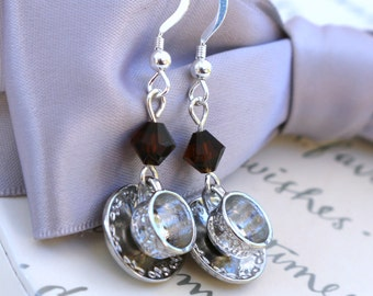 Tea or Coffee earrings with crystal drops