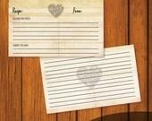 Wedding Recipe Card / Recipe Card / Bridal Shower Recipe Card / Vintage Heart Recipe Card / Instant Download / 3x5 Recipe