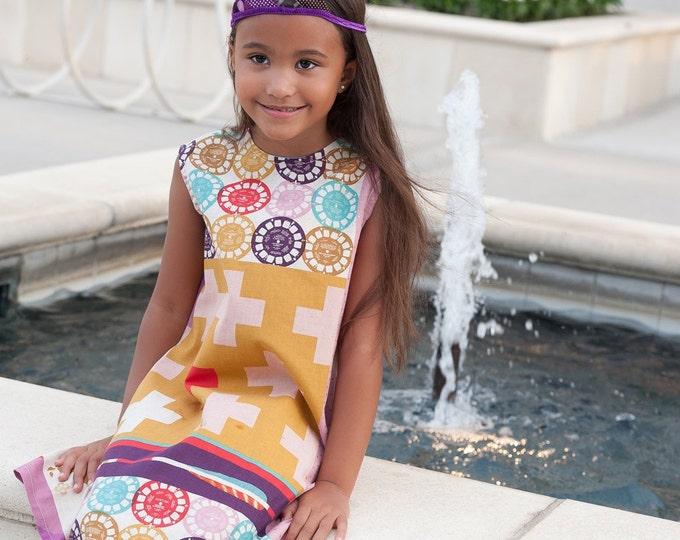 Girls Dress, Ruby Star Modern Rainbow Dress, Toddler Dress, Girls Party Dress, Mod Dress, Hipster Dress, Sundress, Sizes 1T - Girls size 8