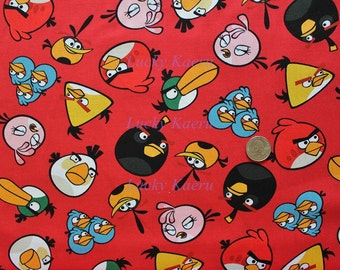 Angry Birds Toss Red Cotton Fabric - Half Yard