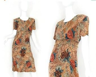 SALE Vintage 90s African Print Beaded Fringe Women's Dress - Tie Back Short Sleeve Floral Print Below the Knee Dress - Size 8