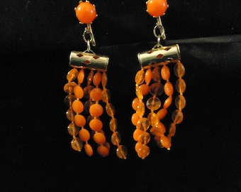 Clip On Earrings Orange Plastic Dangle Style Gold Metal Accents Made in Hong Kong 1970's Vintage Costume Jewelry Accessories