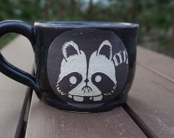 Stoneware Sgraffito Vampire Raccoon Mug