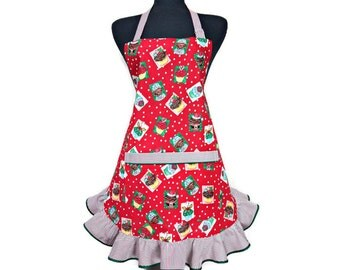 Christmas Cupcake Apron, Red and White Polka Dot and Candy Cane Striped Ruffle, Retro holiday / Christmas Kitchen Decor