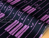 Japanese Fabric - music keyboard canvas - navy, purple - 50cm
