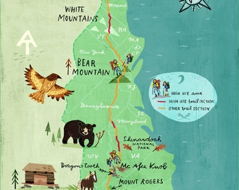 Appalachian Trail Map Print Artwork