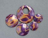 5 Five Polymer Clay beads set.  Not drilled Cabochons. Mokume gane. Jewelry Components Disk Round Domed Boho Lightweight Purple Gold