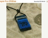Fused Dichroic Glass Jewelry Zodiac Pendant Virgo sign Blue color by zulasurfing