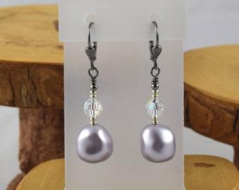 Lavender Go For Baroque Swarovski pearl and crystal gunmetal leverback earrings