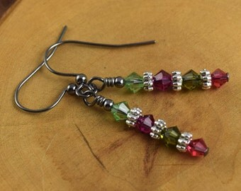 CHERRY LIMEADE pink and green gunmetal Les Petite Cristaux Swarovski crystals handcrafted earrings gorgeous and still affordable