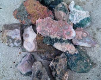 Raw/Rough Ocean Jasper Five Small Pieces    Protection, Nurturing, Stone Sets, Madagascar, orbicular jasper, healing stone, energy, boho