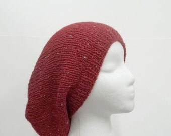 Knitted red slouchy beanie hat large size handmade 5251