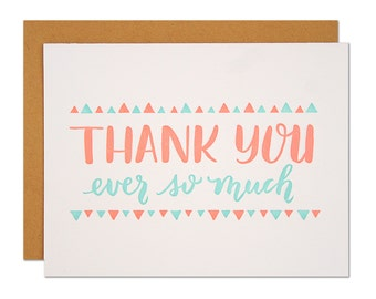 Thank You Ever So Much / Letterpress Greeting Card / Neon Orange and Aqua Bunting