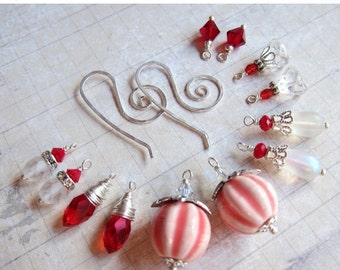 Sale - Sihaya Designs Earring Wardrobe - Peppermint Swirl - Christmas and Winter Holiday Snowflake Mix and Match Earring Set