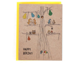 Cute Happy Birthday Bird Greeting Card
