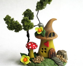Miniature  Whimsical Fairy House with Tree  OOAK by C. Rohal