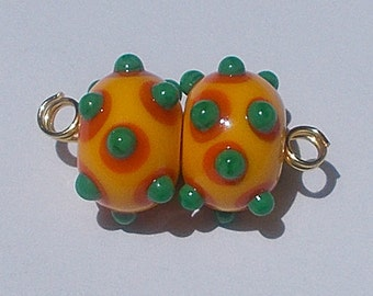 Made To Order Lampwork Bead Pair Yellow Orange Green By Cheryl's Art