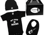 My Dad Rocks Baby Rockstar Kit Gift Set onesie hat guitar bib & gift box