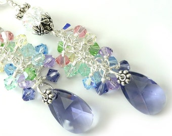 Rainbow Crystal Earrings, Tanzanite Purple Drops, Pink, Yellow, Green, Aqua, Lavender, Shaded Colors, Long Silver Dangles, Beaded Earrings